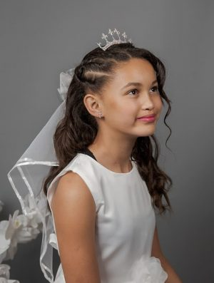 Tiara and Clip Comb Communion Veil