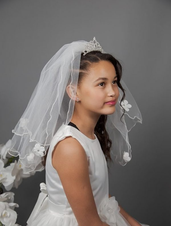 Tiara Communion Veil with Daisies